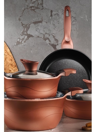 Kütahya Porselen Lidya 7 Parça Tencere Seti Granit Efekt Rose Gold Renksiz